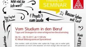 Noch Plätze frei! Seminar: Vom Studium in den Beruf, 06.-08.10.2017 in Sprockhövel