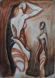 two_women_sanguine_charcoal