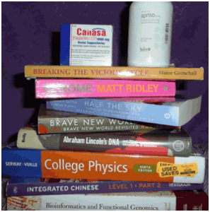 Amanda's Stack of Books (and Canasa)