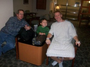 my dad, my son and I at the hospital two days after surgery