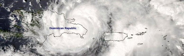 Satellite visible image of tropical storm Jeanne hitting the Dominican Republic