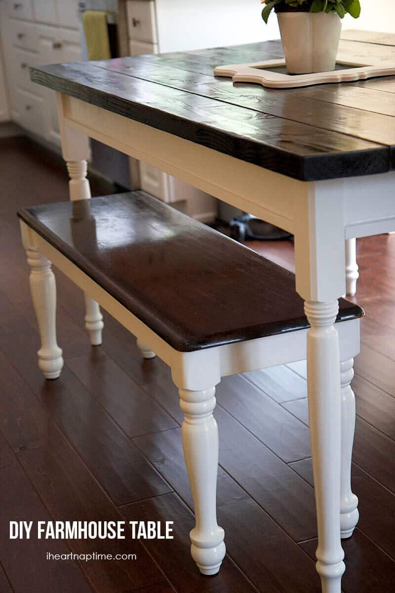 diy farmhouse kitchen table white kitchen table DIY farmhouse kitchen table on iheartnaptime com