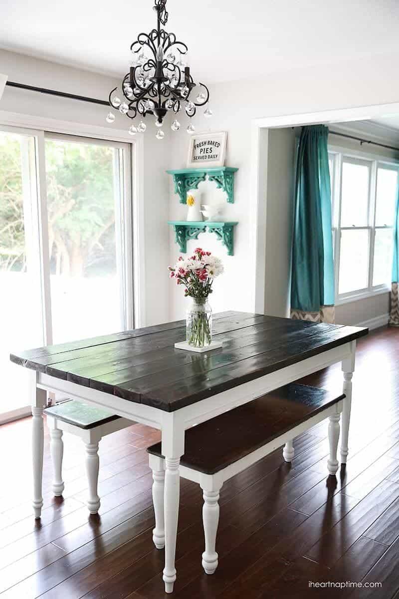 white grey kitchen makeover gray kitchen table DIY farmhouse kitchen table love