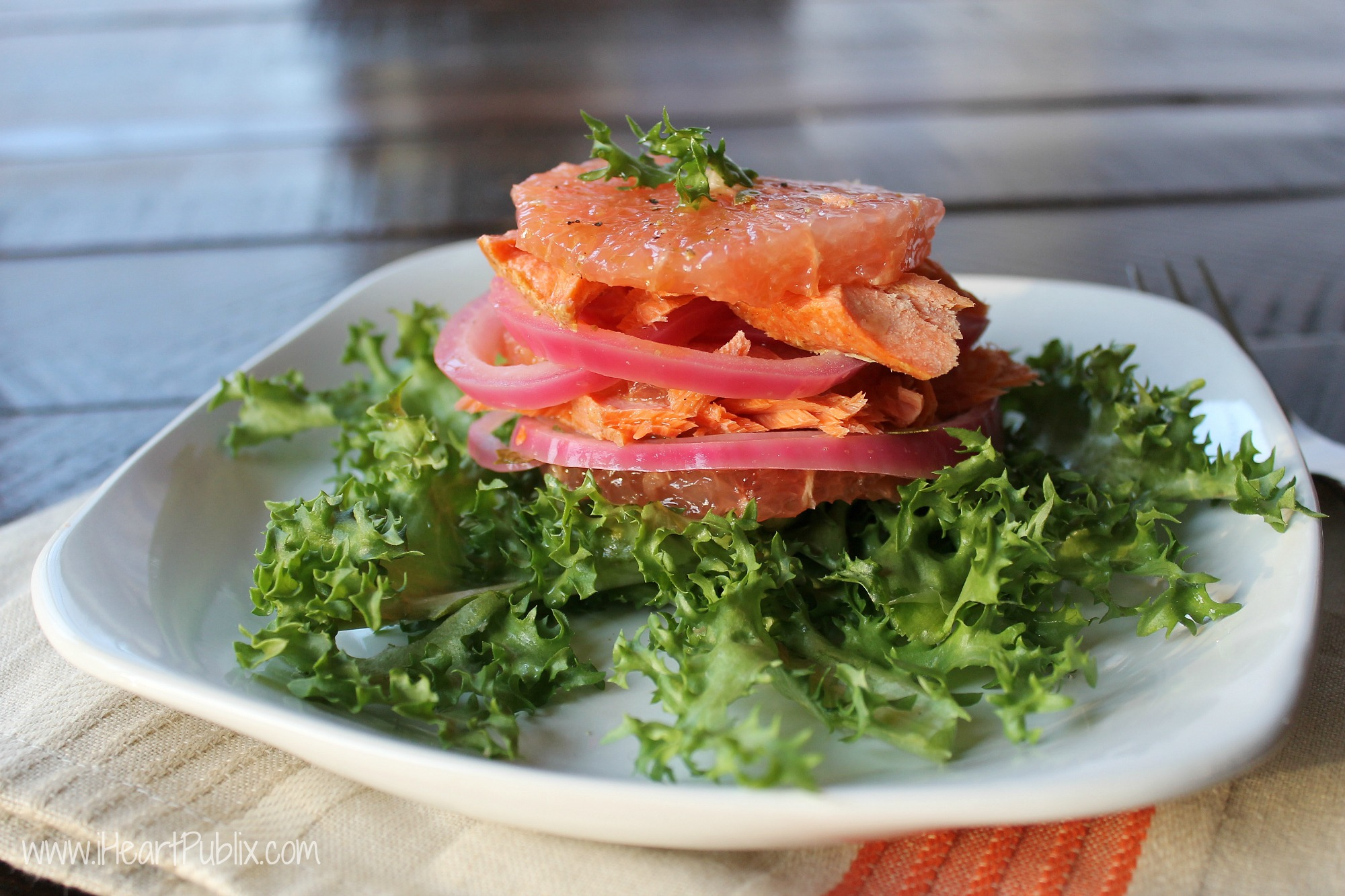 Florida Grapefruit And Smoked Salmon Tower With Pickled Red Onions