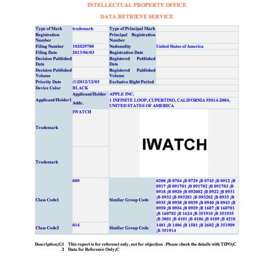 "iwatch taiwan  Apple's ""iWatch"" trademark includes in Mexico, Taiwan and Turkey iwatchtaiwan"