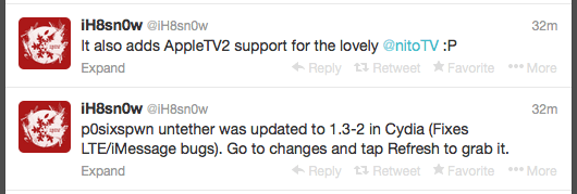ih8snow  New P0sixspwn Untether replace fixes LTE and iMessage malicious program ih8snow