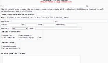 formularul pentru asistenta ANAF