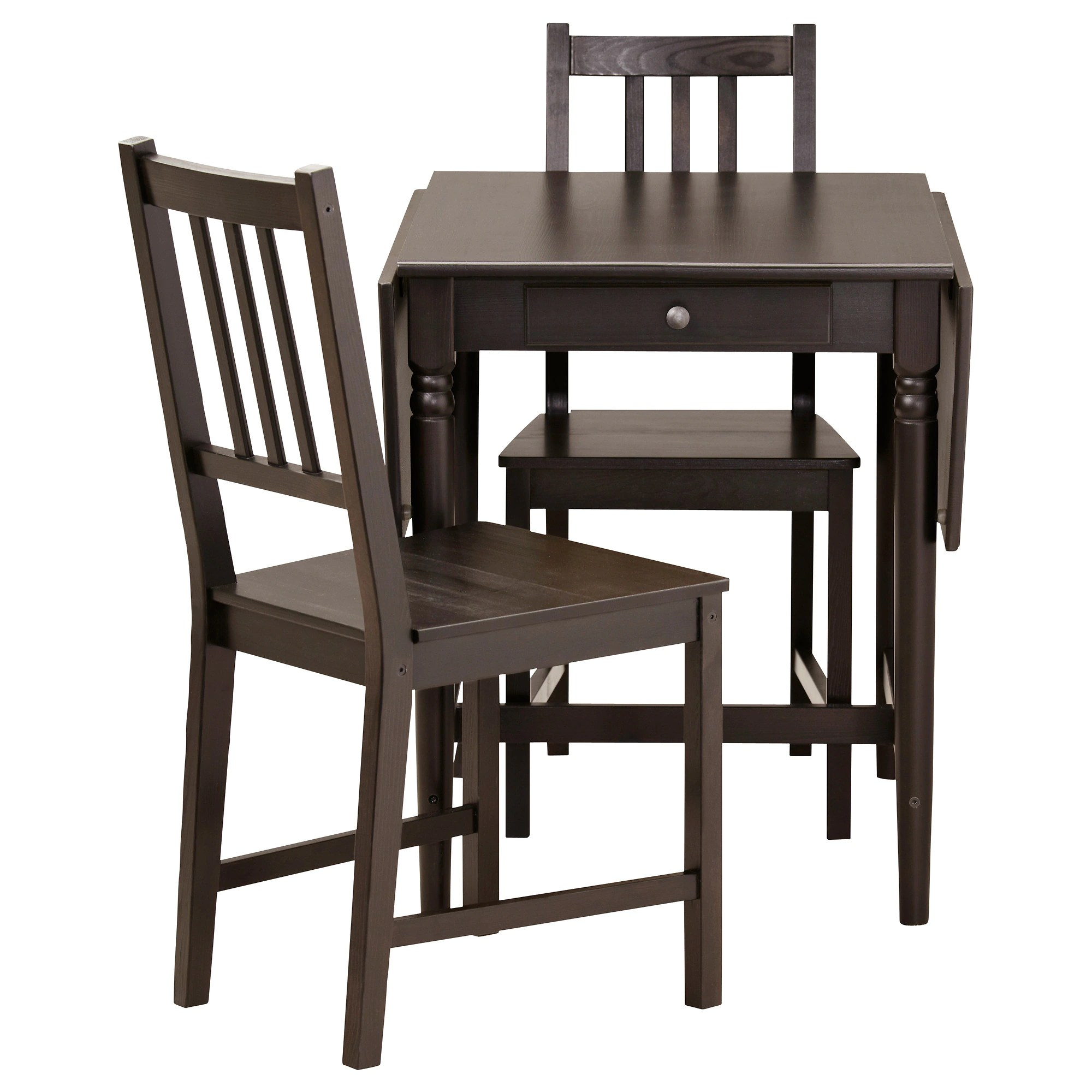 two seat kitchen table INGATORP STEFAN table and 2 chairs black brown Length 34 5