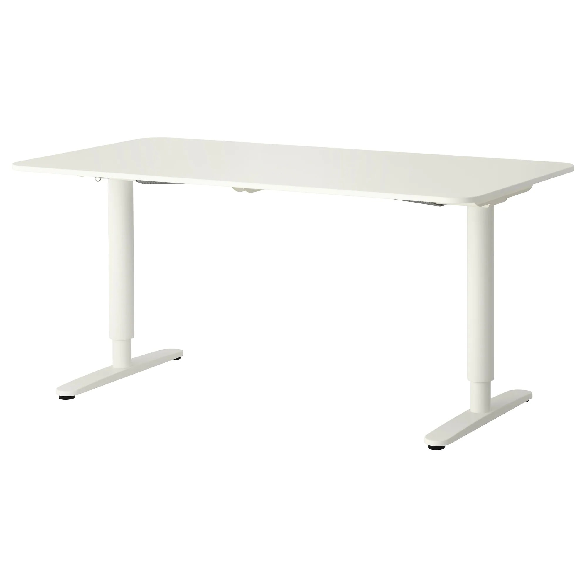 Simple Adjustable Height Desk Ikea Bekant Sitstand White Length To Decor