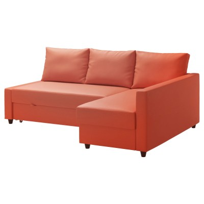 FRIHETEN Corner sofa-bed with storage Skiftebo dark orange - IKEA