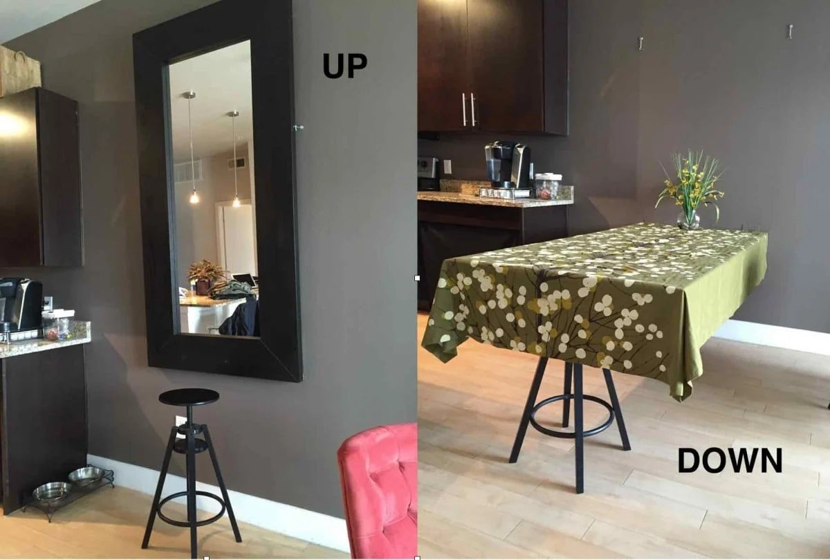 hideaway dining table using ikea mirror murphy kitchen table 2 way mirror