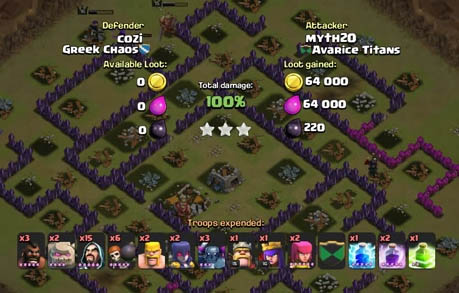 Tips dapat 3 Bintang Clan War Dengan Serangan Darat GoWiWiPe