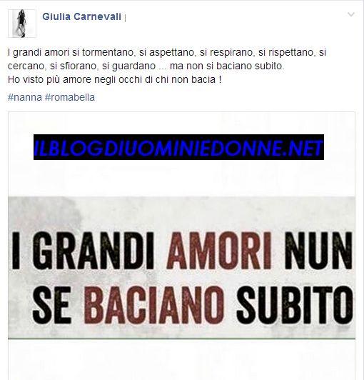 La corteggiatrice Giulia Carnevali su Instagram e il bacio che non arriva