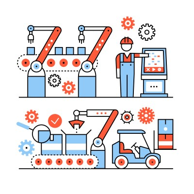 Modern robotic and manual manufacturing assembly lines. Packaging and loading with forklifts. Thin line art icons set. Flat style illustrations isolated on white.
