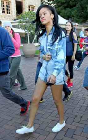 Rihanna In Isabel Marant Tie-Dye Denim Shirt