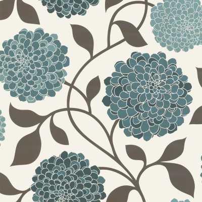 Designer Selection Bloom Floral Designer Feature Wallpaper Teal / Cream / Brown | eBay