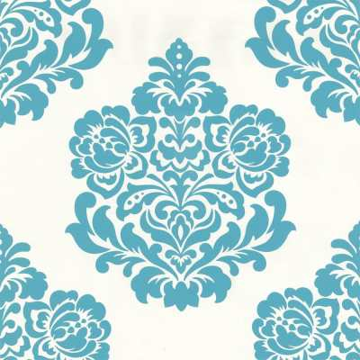 Designer Selection Bold Damask Designer Feature Wallpaper Teal / Cream | eBay