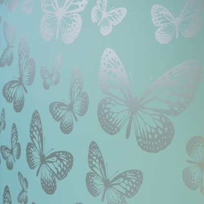 I Love Wallpaper Metallic Butterfly Designer Feature Wallpaper Teal / Silver