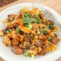 Breakfast Hash with Chorizo and Scrambled Eggs