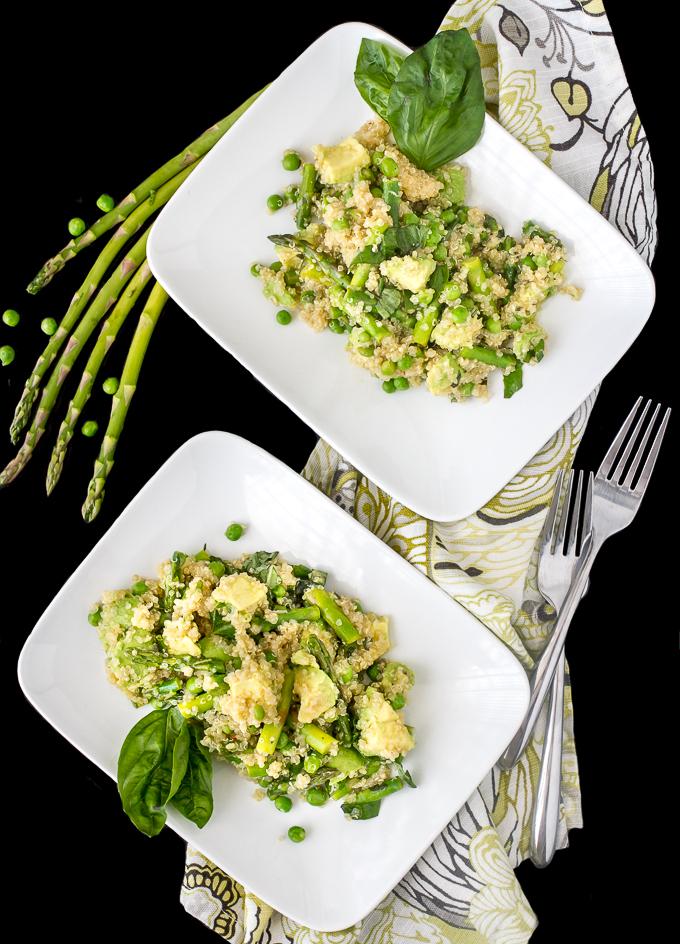 Spring Quinoa Salad with Asparagus, Peas, Avocado and Basil
