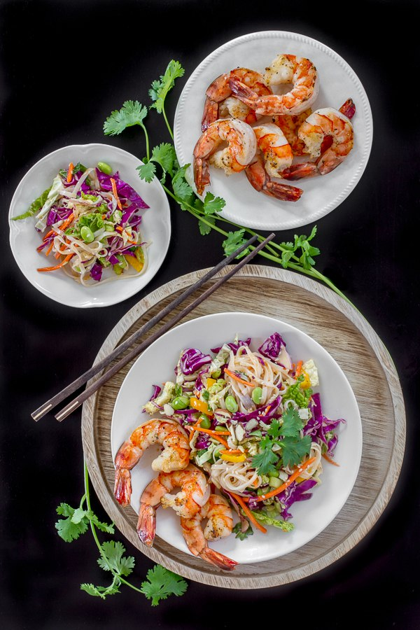 Ginger Miso Slaw with Edamame, Rice Noodles & Shrimp - I'm Bored, Let...