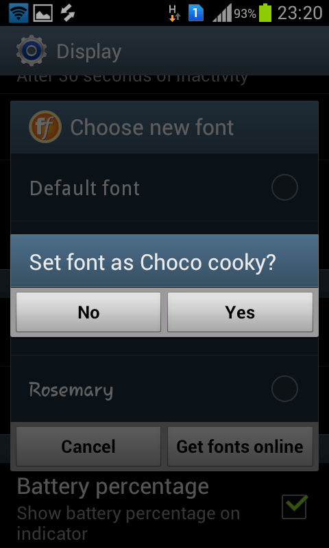 Increase font size android