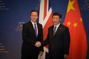 The Prime Minister David Cameron attends a Bi-lateral meeting with the President of China Xi Xinping during  the PMs visit to The Hague.