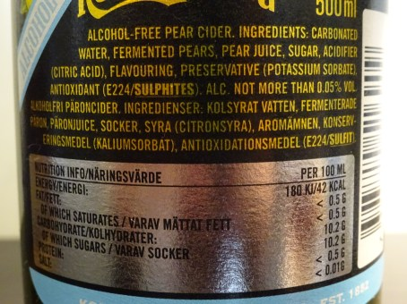 A standard bottle of Kopparberg contains 207 Kcal and up to 31g of sugar.