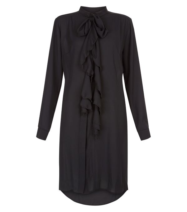 New Look - Blue Vanilla Black Frill Pussybow Shirt Dress 25