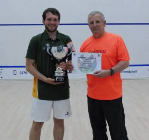 James Foster collects the Inter-University V2 Championship trophy