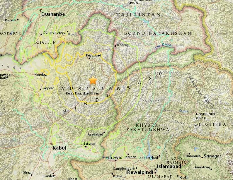 M7.7 - 45km SSW of Jarm, Afghanistan - Google Chrome