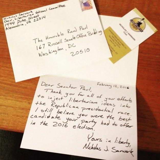Sarwark's letter