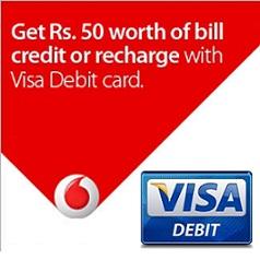 Vodafone Visa Debit Card Offer | Rs.50 Free Mobile Recharge