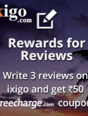ixigo freecharge coupon reward for reviews