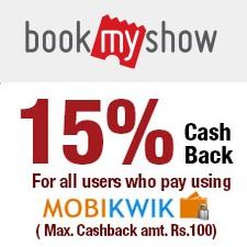 BookMyShow MobiKwik Cashback Offer