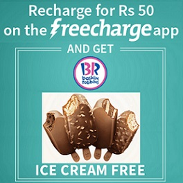 Free Baskin Robbins Ice Cream Recharge on Freecharge App - Mumbai only