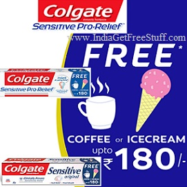 Colgate Sensitive Free Coffee or Ice Cream Offer Toothpaste Freebies upto Rs.180