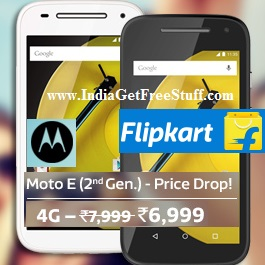 Moto E 2nd Gen 4G Offers Flat Rs.1000 Off Flipkart + Exchange Offer