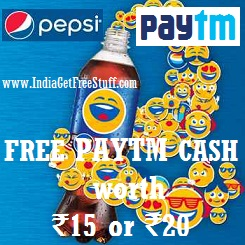 Paytm Pepsi Offer Free Paytm Cash worth Rs.15 or Rs.20