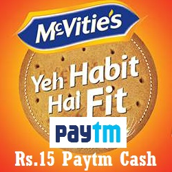 Paytm McVities Digestive Biscuits Offer Rs.15 Free Paytm Cash