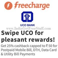 Freecharge UCO Bank Offer 25% Cashback Mobile Bill DTH Data Card