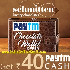 Paytm Schmitten Chocolate Offer Get upto Rs.40 Free Paytm Cash