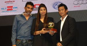 The Alemao siblings with Bhaichung and the best I-league club award