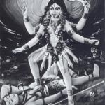 La Dea Kali. Iconografia classica. Guazzo su carta tratta da Mookerjee, Ajit. 1988