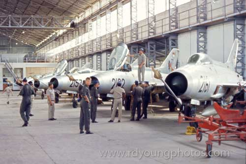 MiG-21 di hangar lanud Iswahjudi, foto diambil pada tahun 1973.