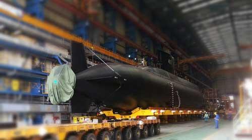 KRI Nagabanda 403 di fasilitas galangan DSME, Korea Selatan.