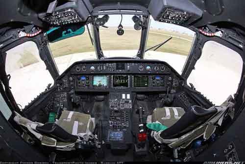 Kokpit pada versi Mi-26TC sudah menggunakan teknologi digital.
