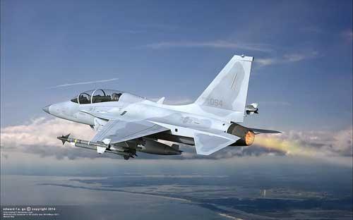 FA-50 AU Korea Selatan melakukan afterburner.