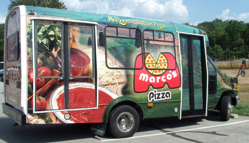 bus wrap, full bus wrap, pizza bus wrap, business bus wrap