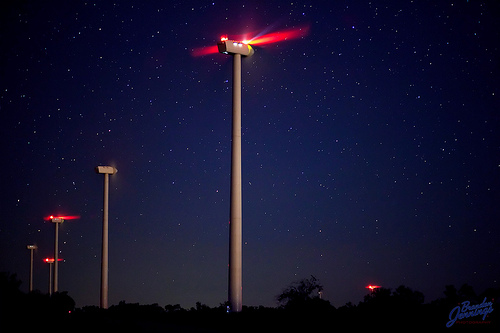indiana wind farm night